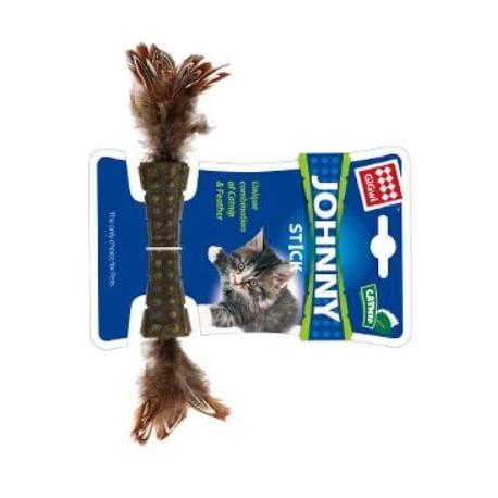 Hračka kočka GiGwi Johnny Stick Catnip s peříčky