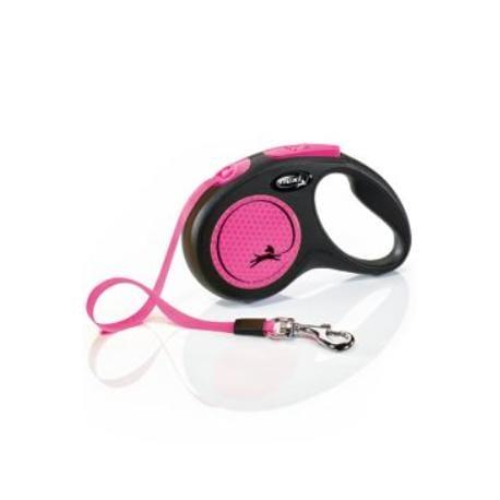 Vodítko FLEXI Neon S pásek 5m/15kg černá/růžová NEW