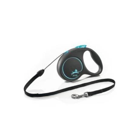 Vodítko FLEXI Black Design S lanko 5m/12kg modrá NEW