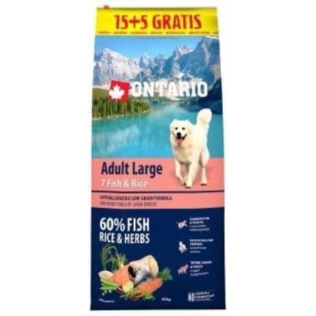 ONTARIO Dog Adult Large 7 Fish&Rice 15kg+5kg uvnitř