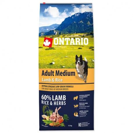 ONTARIO Dog Adult Medium Lamb & Rice & Turkey 12kg