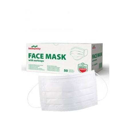 Ústenka jednoráz.IMMUNITY Face Mask B, pruž.pásky 50ks